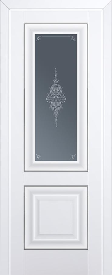 Межкомнатная дверь 28U Кристалл графит, Серебро
