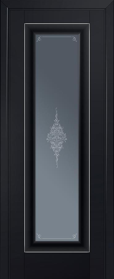 Межкомнатная дверь 24U Кристалл графит,Серебро