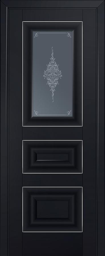 Межкомнатная дверь 26U Кристалл графит,Серебро
