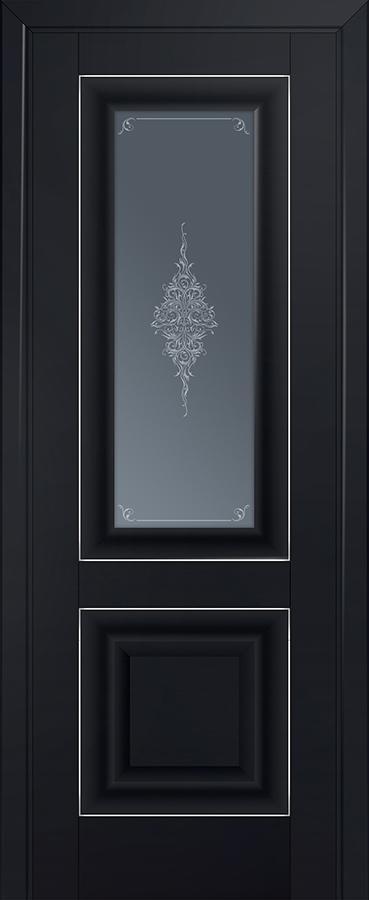 Межкомнатная дверь 28U Кристалл графит,Серебро