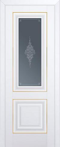 Межкомнатная дверь 28U Кристалл графит, Золото