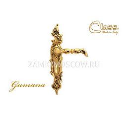 Дверная ручка на планке под фиксатор CLASS mod. 1100/1130 Gumana WC золото 24К + коричневый